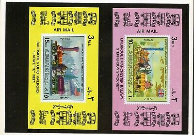 Ajman Trains Set Of Proof Imperf S/s's  Mounted On 3  Kultura Hungarian Folders