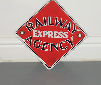 Original Enamel Sign - Railway Express Agency - Collectable Railroad Train Sign