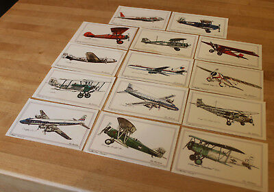 Lot Of 14 Collector Series Aircraft Roy Andersen Illustrator Postcards 1973-1974