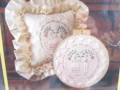 Sunset Wedding Ring Anniversary Folk Art Wedding Ring 1983 Embroidery Kit Amish