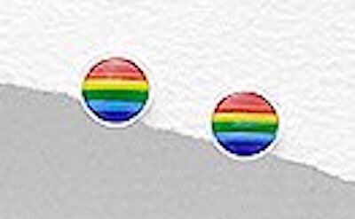 Solid Sterling Silver Childrens Rainbow Enamel 5mm TINY Circle Stud Earrings