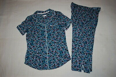 Womens Pajamas Set TEAL w/ PURPLE WHITE FLOWERS Button Up S/S Top, Capris M 8-10