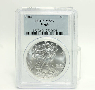 2002 American Silver Eagle Dollar Coin Uncirculated .999 Fine Silver PCGS MS69