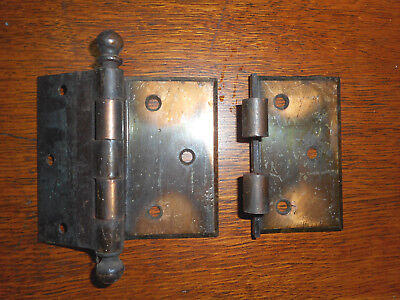 Vintage arts crafts craftsman door hinges 4x3 1/2 offset Jappaned finish (W3BxA)