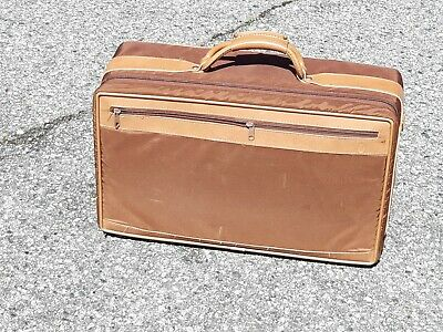 Vintage Hartmann Brown Leather Suitcase Luggage Travel Bag