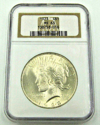 1923 Peace Silver $1 Dollar Coin  -  MS63  -  NGC