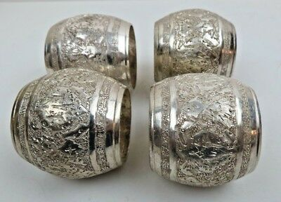 Fine Set of 4 Antique Vintage Middle Eastern Persian Solid Silver Napkin Rings