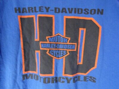HARLEY DAVIDSON T-shirt Mens Size XL Extra Large Blue Logo Spell Out