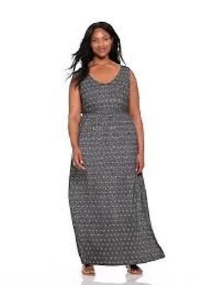 NEW - WOMENS Old Navy Plus Black White Empire Waist Maxi Dress - Plus Size  2X