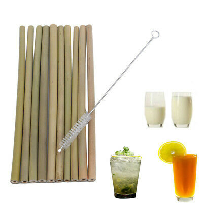 Useful 10Pcs/Set Bamboo Drinking Straws Reusable Eco-Friendly Kitchen Supply LG
