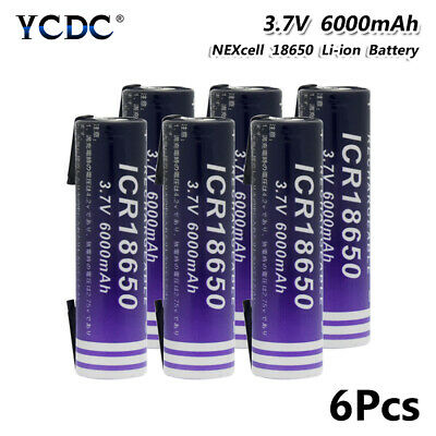 Rechargeable Li-ion 18650 Battery 3.7V 6000mAh With Tabs For Flashlight 6Pcs 66
