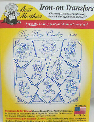 Dog Days Cowboy Days of Week Aunt Martha/'s Hot Iron Embroidery Transfer #3981