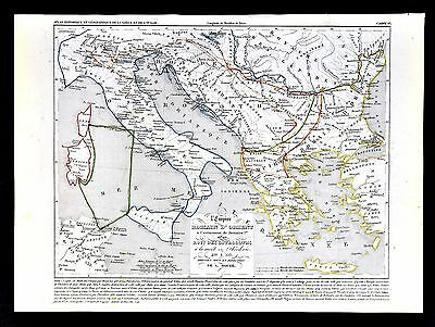 1849 Houze Map Ancient Greece 410-533 AD Holy Roman Empire & Ostrogoths Italy