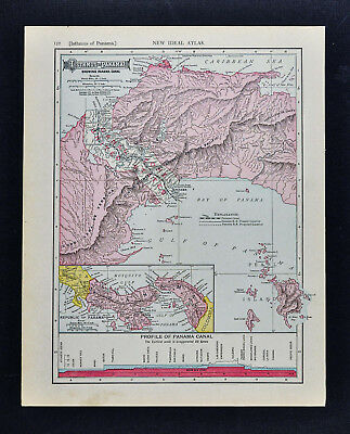 1911 McNally Map - Isthmus of Panama Canal Profile San Pablo Colon Bohio