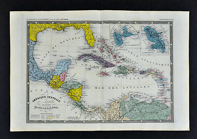 1860 Ansart Map West Indies Cuba Bahama Florida Guadeloupe Martinique Caribbean