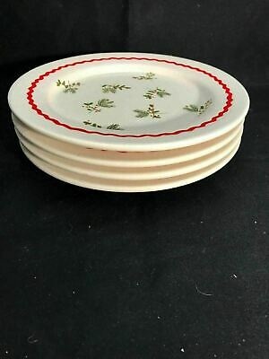 """SET OF 4 Hallmark Salad SNACK Plates Berries Holly Red 8"""" Holiday Christmas"""