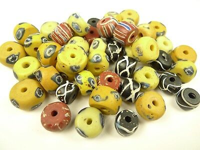 Large Lot Antique Venetian Fancy Glass African Trade Beads Old Estate Collection