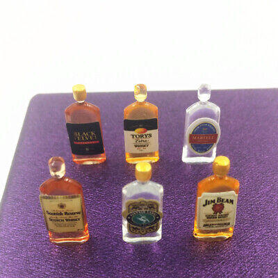 6pcs Dollhouse 1/12 Miniature Wine Whiskey Bottles Drink Shop Pub Bar Accessory