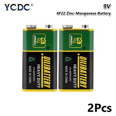 Heavy Duty 9V 6F22 Dry Zn/MnO2 Battery For RC Toy Smoke Alarm Microphone 2Pcs A