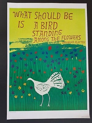 ORIGINAL 1960s FLOWER POWER POSTER BIRD STANDING ALONE DOUGLAS CLAYTON PEACE 60s