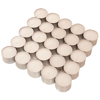 100 Tea Lights White Unscented Unfragranced Candles 8 Hours Burning T-Light 38mm