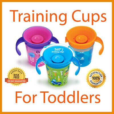 Sippy Cup For Toddlers Baby Training Trainer Anti Spill Leak 360° Drinking Cups