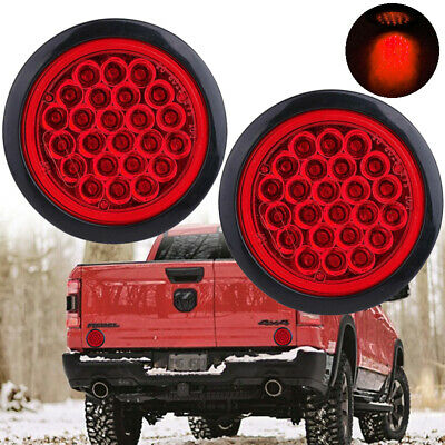 2X 24LED Red Round Reverse Stop Brake Turn Signal Rear Tail Light Truck Trailer