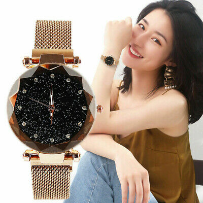Women Starry Sky Watch Quartz Analogue Magnet Stainless Steel Strap Free Buckle