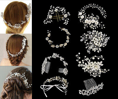 Wedding Bridal Hair Clip Comb Crystal Rhinestone Diamante Faux Pearl Headband