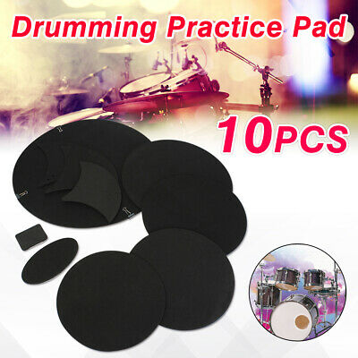 10 Pcs Bass Snare Drum Sound off Mute Silencer Drumming Rubber Practice Pad Set