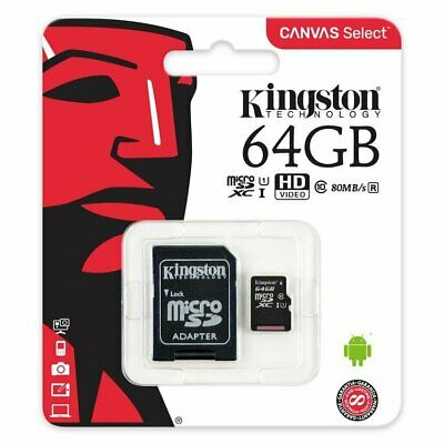 Kingston 64GB 64 GB MicroSD Micro SD Class 10 UHS-I Flash Card 80MB/s