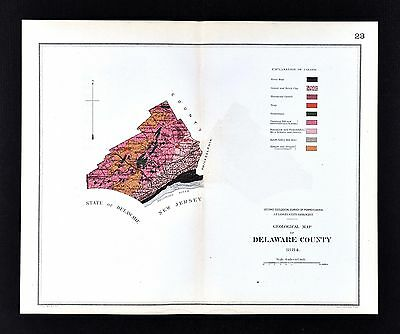 1884 Geological Map - Delaware County Pennsylvania   by Lesley Geology Survey PA