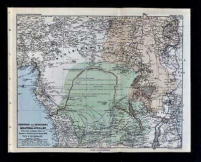 1877 Petermann Map Stanley's Congo River Expedition Route Africa Lake Tanganyika