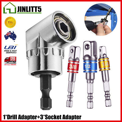 4PCS Right Angle Drill Adapter Attachment Impact Driver Extension Hex Bit Bend