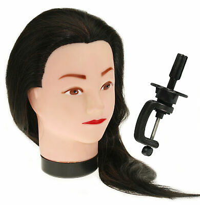 """Hairdressing 18"""" 50% Real Remy Human Hair Training Head Reddish With Clamp"""