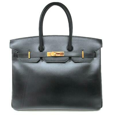 a83e79a1bc HERMES Birkin 35 Hand Tote Bag Box Calf Leather Black GHW Used Vintage