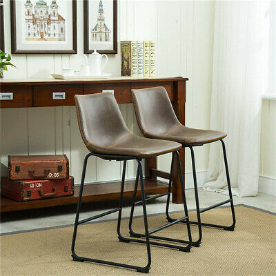 Pair Industrial Look Bar Stools Modern Seating Leather Stool Back Sunken Seat Uk