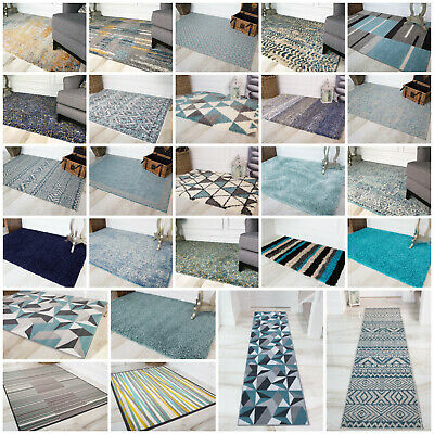 Small & Large Living Room Rugs Duck Egg Blue Navy Shaggy Bedroom Rug CHEAP MATS