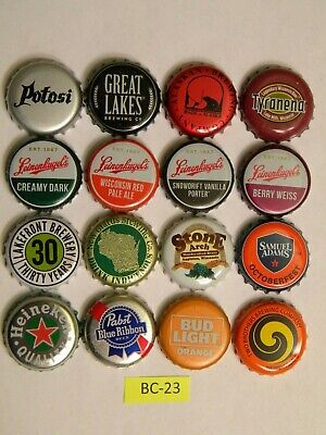 BEER Bottle Caps 16 Different Leinenkugel Potosi New Glarus Great Lakes BC23-3