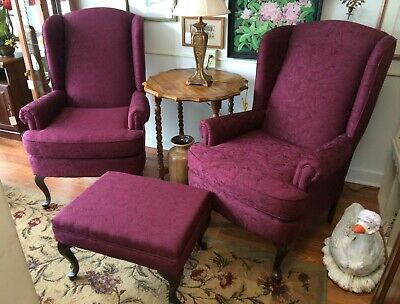 Vintage Burgundy Wingback Chairs & Ottoman Foot Stool Queen Anne Legs Euc