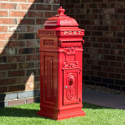 Vintage Victorian Royal Red Free Standing Grand Pillar Post Letter Box Wedding