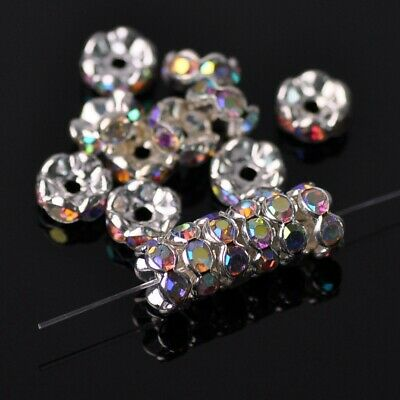 50pcs 8mm Flower Crystal Rhinestone Loose Bead Findings Clear AB Jewelry Making