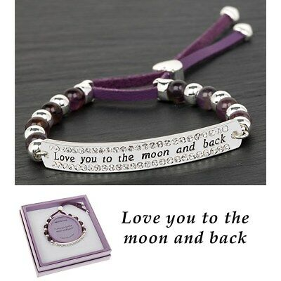 Equilibrium Silver Plated Amethyst Love You To Moon Back Bracelet Gift Box
