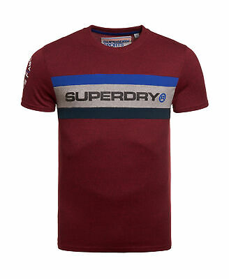 New Mens Superdry Trophy Short Sleeve T-Shirt Bright Berry Grit