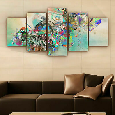 Abstract Tattoo Skull Swirl 5 panel canvas Wall Art Home Decor Poster Print
