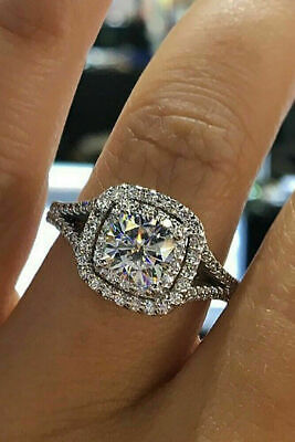 2 35 Ct Cushion Cut Round Diamond Double Halo Engagement Ring 14k White Gold Fn