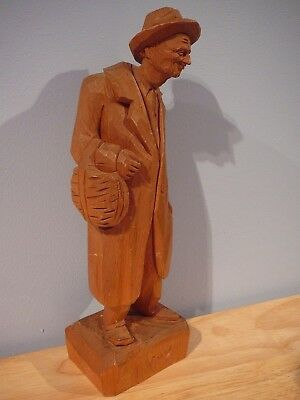 "Folk Art Wood Sculpture Caron Quebec 12"" Man"