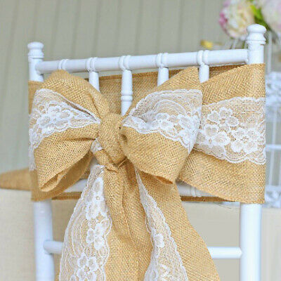 Prime 100Pc Burlap Chair Sash Bow 100 Natural Jute Fabric Chair Pabps2019 Chair Design Images Pabps2019Com
