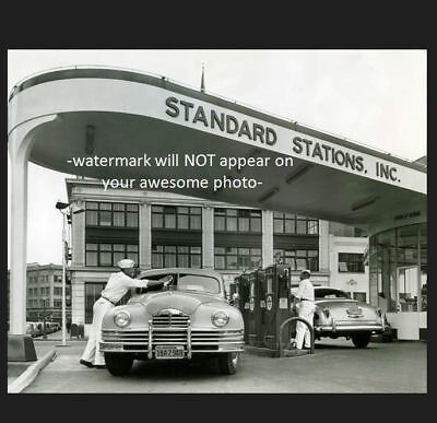 Vintage Standard Crown Gas Station PHOTO Island Pumps 1950s Service Buick Chevy