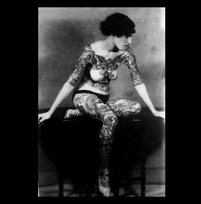 Hot Tattoo Girl PHOTO Sexy Peaks,Gorgeous Hot Tattooed Woman,1900s Art